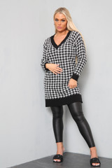Houndstooth Jumper Dress (Two Colours)