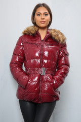 Faux Fur Hooded Shiny Puffer (Three Colours)