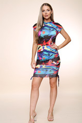 Abstract Print Side Ruched Dress