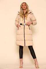 Belted Corset Long Puffer Coat
