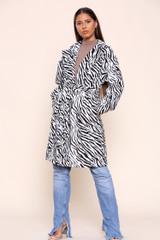 Zebra Printed Belted Coat