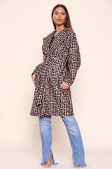 Zig Zag Printed Belted Coat