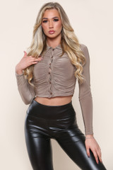 Slinky Cropped Ruched Shirt