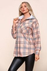 Check Zip Front Patterned Hoodie