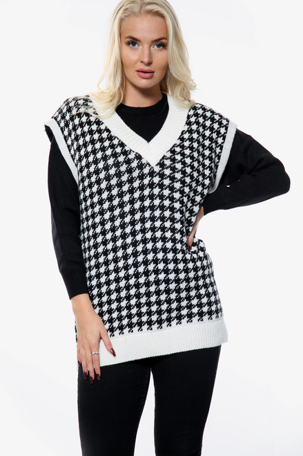Houndstooth V-Neck Knitted Vest (Two Colours)
