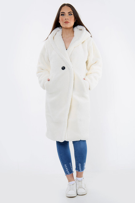 Hooded Long Teddy Coat (Five Colours)