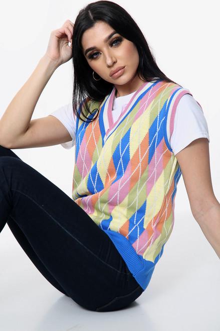 Knitted Diamond V-Neck Vest
