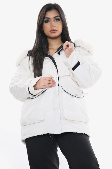 Faux Fur Lined Hooded Front Zip Jacket (Two Colours)