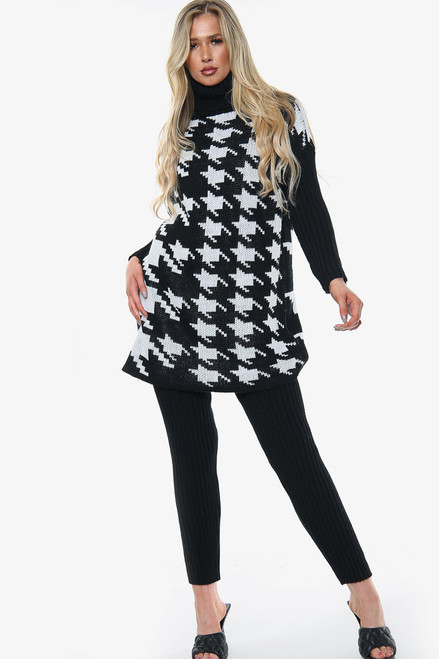 Houndstooth Roll Neck Knitted Co-Ord Set (Five Colours)