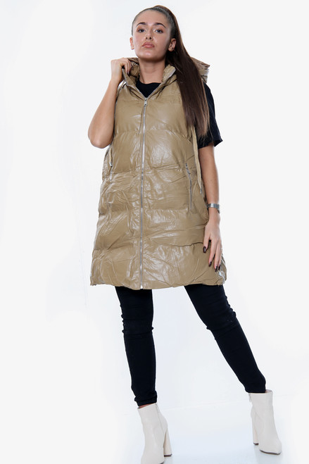 Vegan Leather Long Line Puffer Gilet (Three Colours)