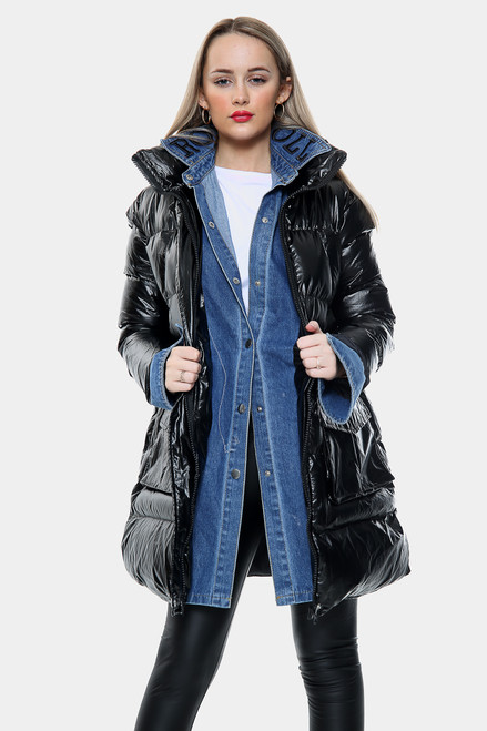 Denim Layered Shiny Puffer Jacket  Zip Front High Neck (Three Colours)
