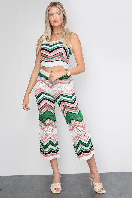 Zig Zag Knitted Capri Trousers Co-Ord Set (Three Colours)