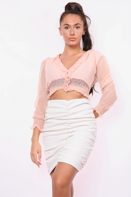 Cropped V-Neck Textured Blouse  (Three Colours)
