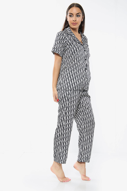 Satin Printed PJ Pyjama Set Trousers (Three Colours)