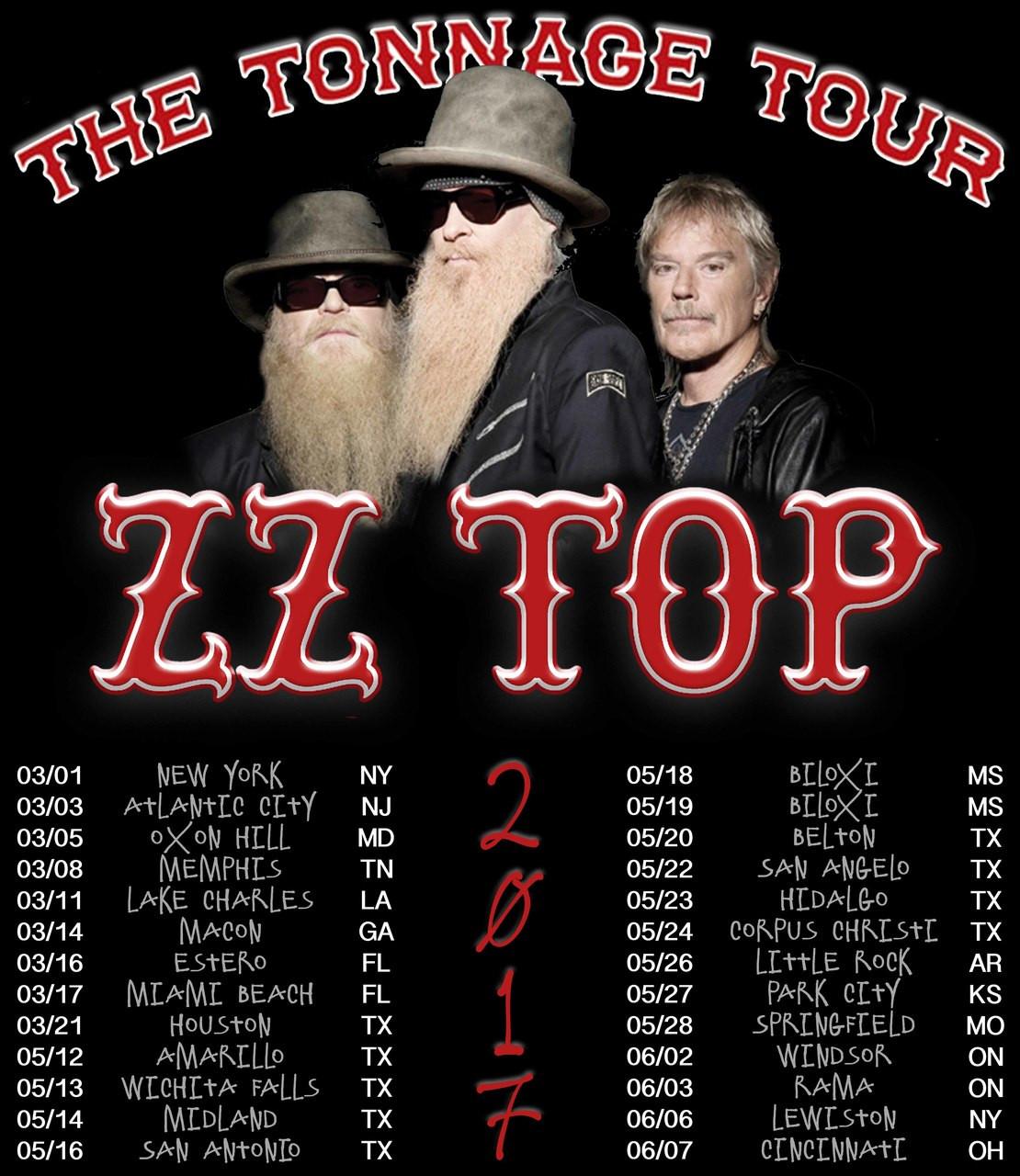 ZZ Top t shirt ZZ Top The Tonnage Tour 2017 Sizes S-6X