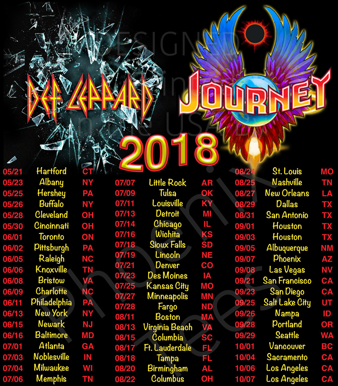 def leppard and journey 2018 concert tour - phoenix tees