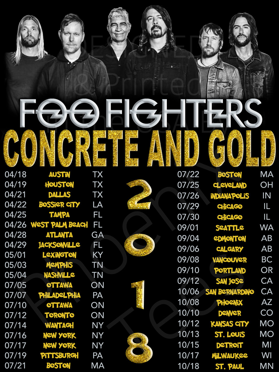 6920ba53 Foo Fighters 2018 Concrete and Gold Concert Tour t shirt - Phoenix Tees