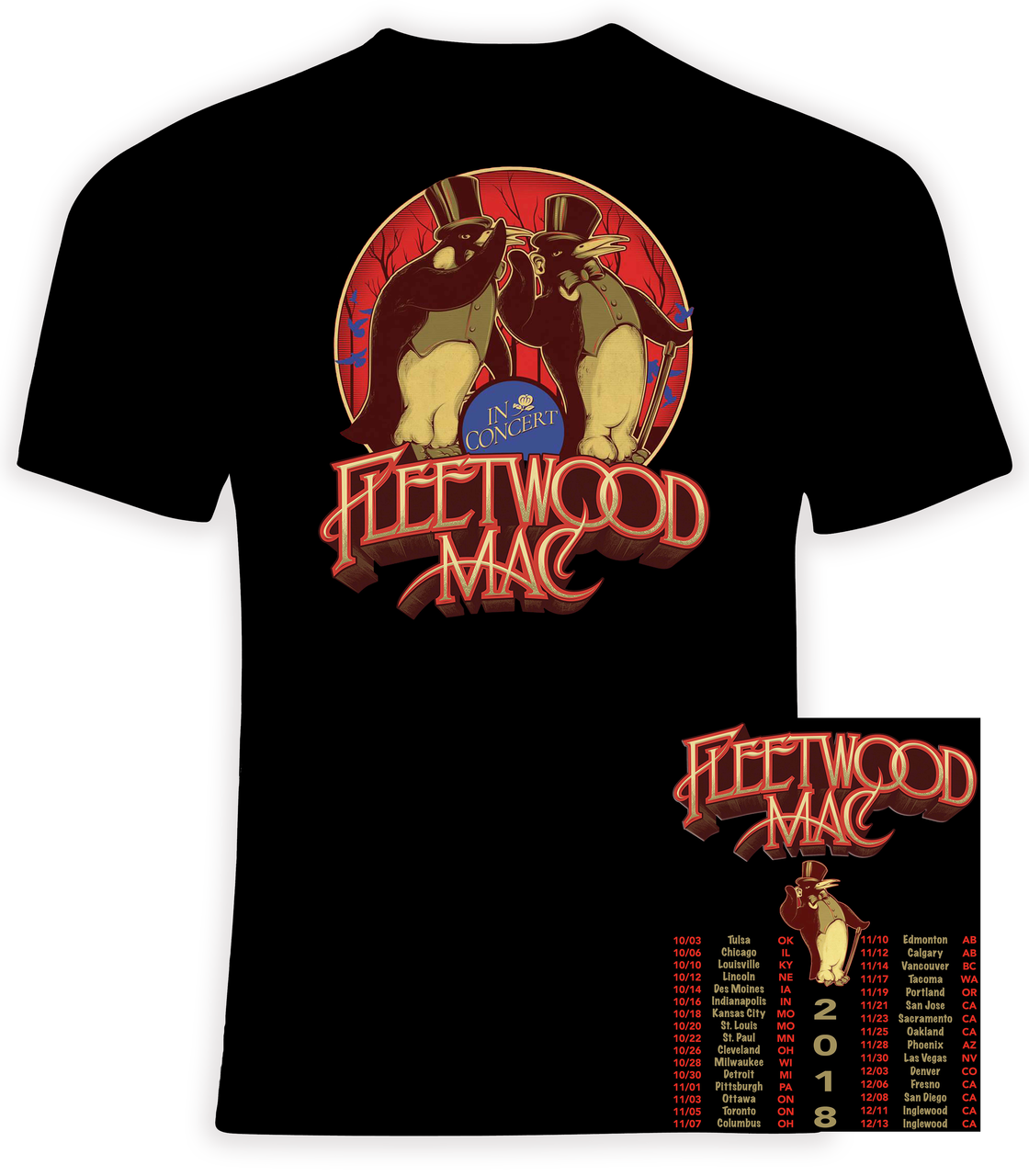 Fleetwood Mac 2018 North American Concert Tour T Shirt Phoenix Tees