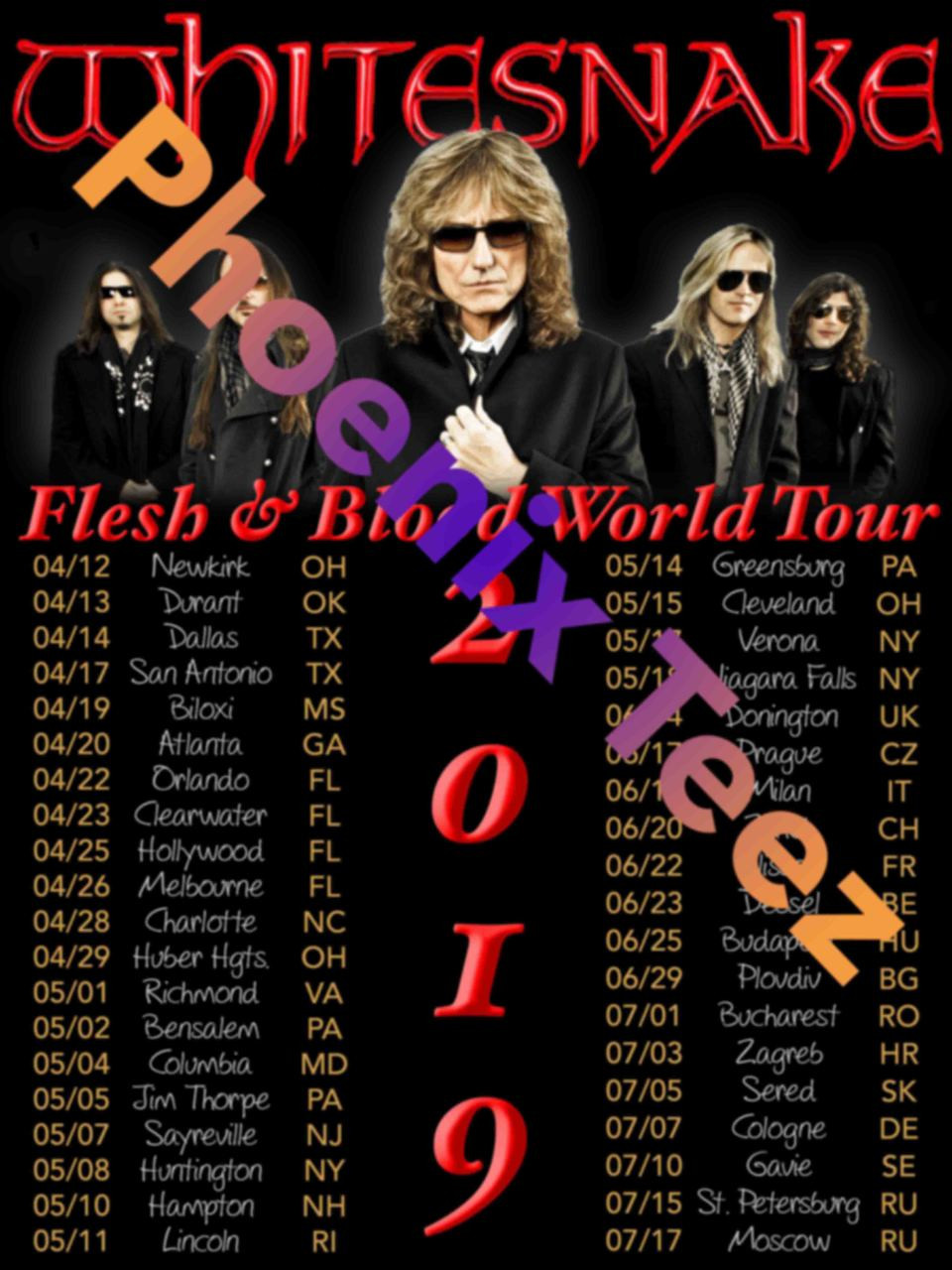Whitesnake 2019 Flesh and Blood World Tour - Phoenix Tees