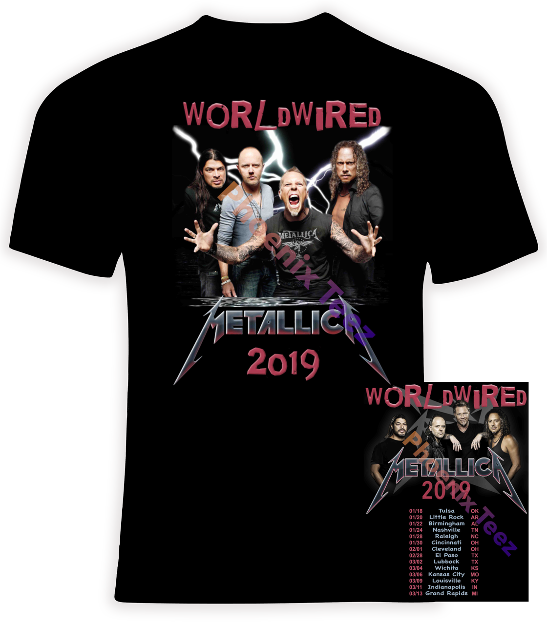 Metallica 2019 Worldwired Concert Tour - Phoenix Tees
