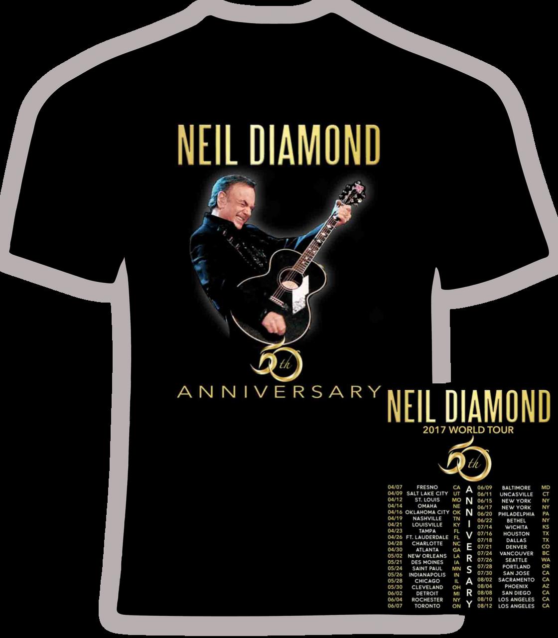 Neil Diamond 50 Year Anniversary Tee White Cotton Tshirt Men/'s T-Shirt 2 Sides