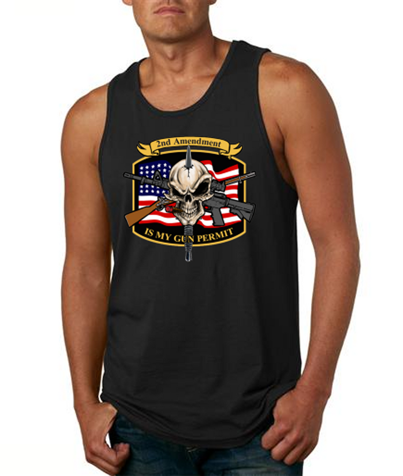 2nd Amendment with American Flag and Skull