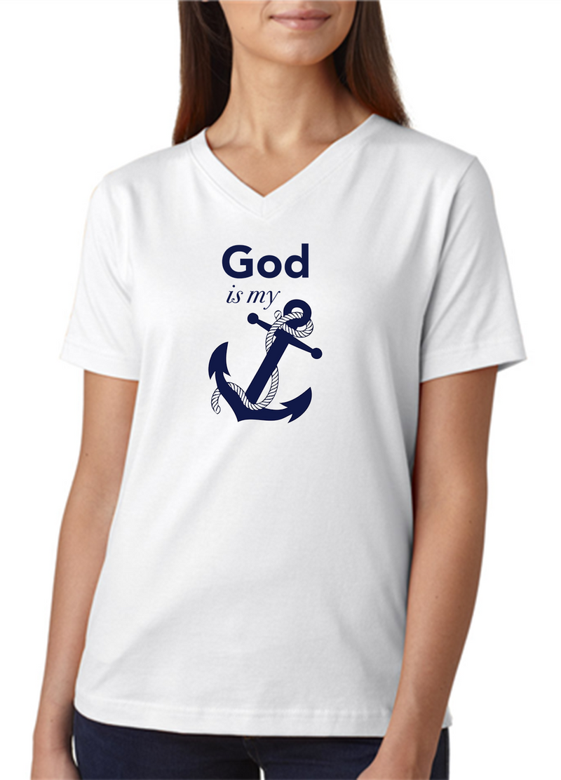 """White with Navy Blue Lettering. A super comfortable ladies tee with a """"V"""" neck."""