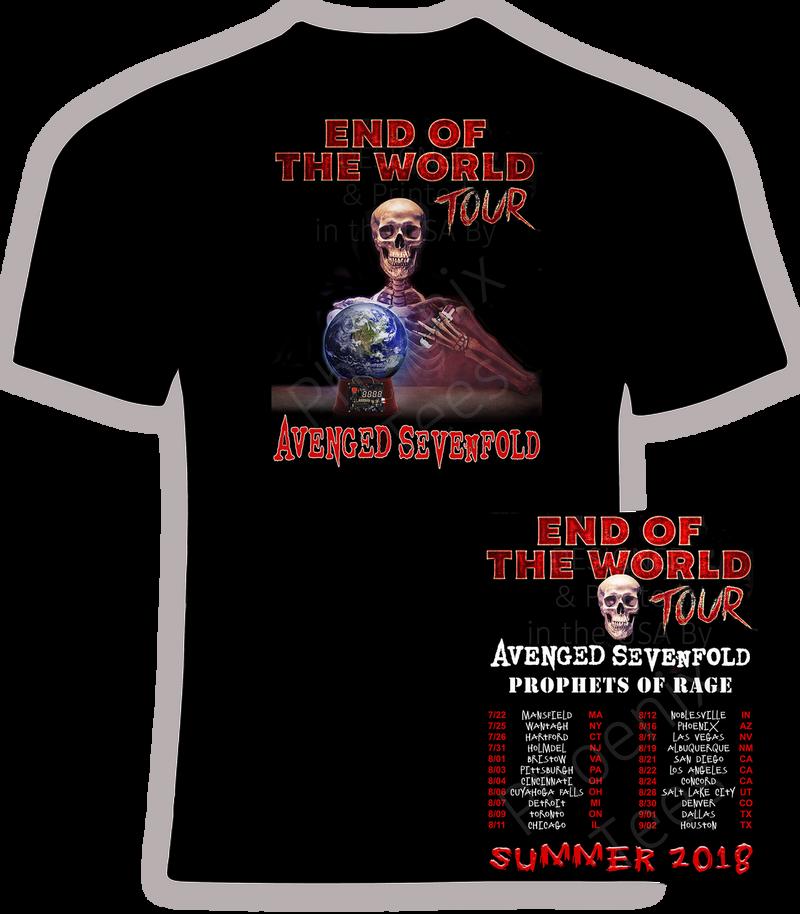 "Avenged Sevenfold ""End of the World"" Summer 2018 t shirt"