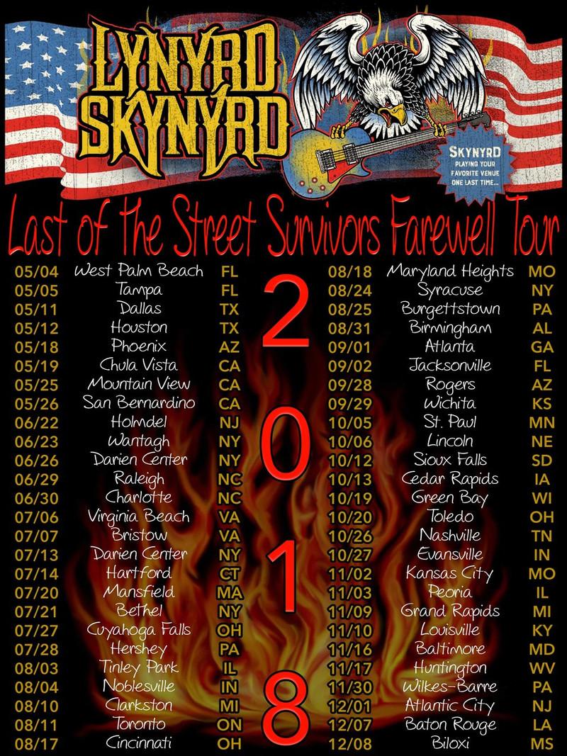 Lynyrd Skynyrd 2018 Farewell Concert Tour t shirt