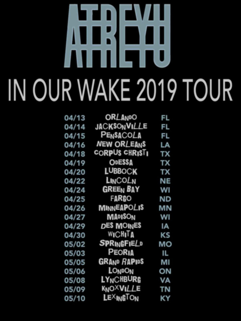 Atreyu 2019 'In Our Wake' Concert Tour
