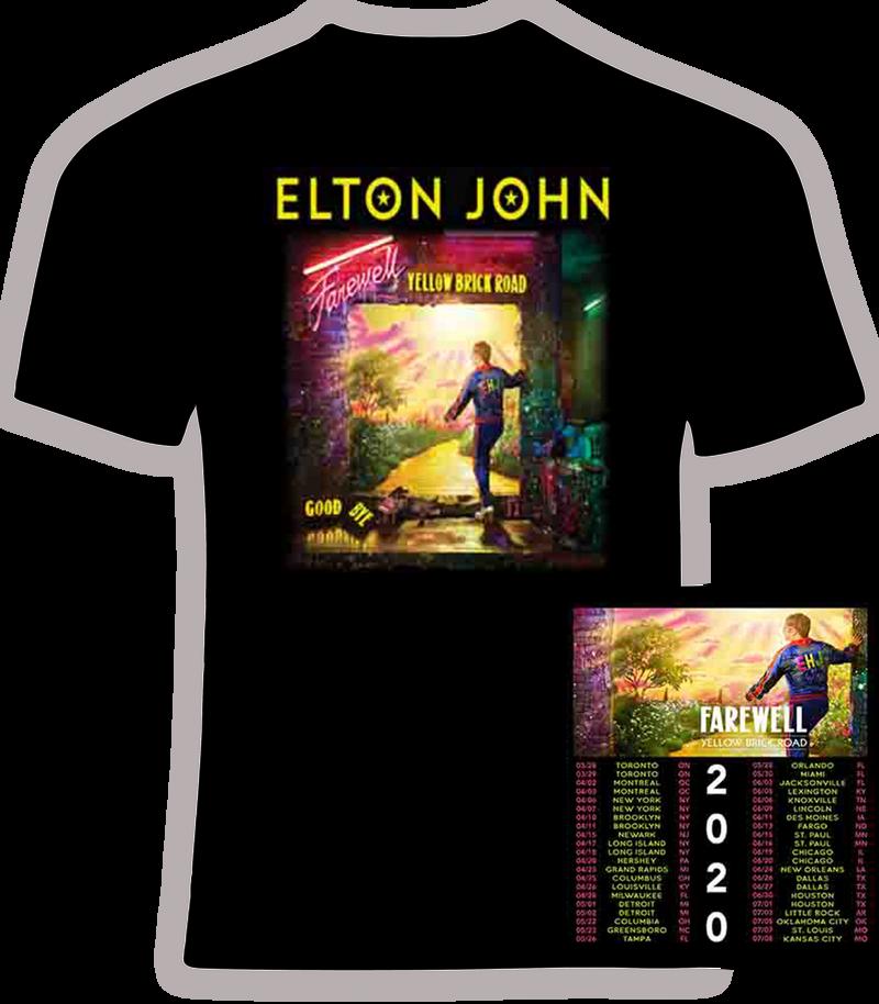 Elton John 2020 Farewell Yellow Brick Road Concert T Shirt