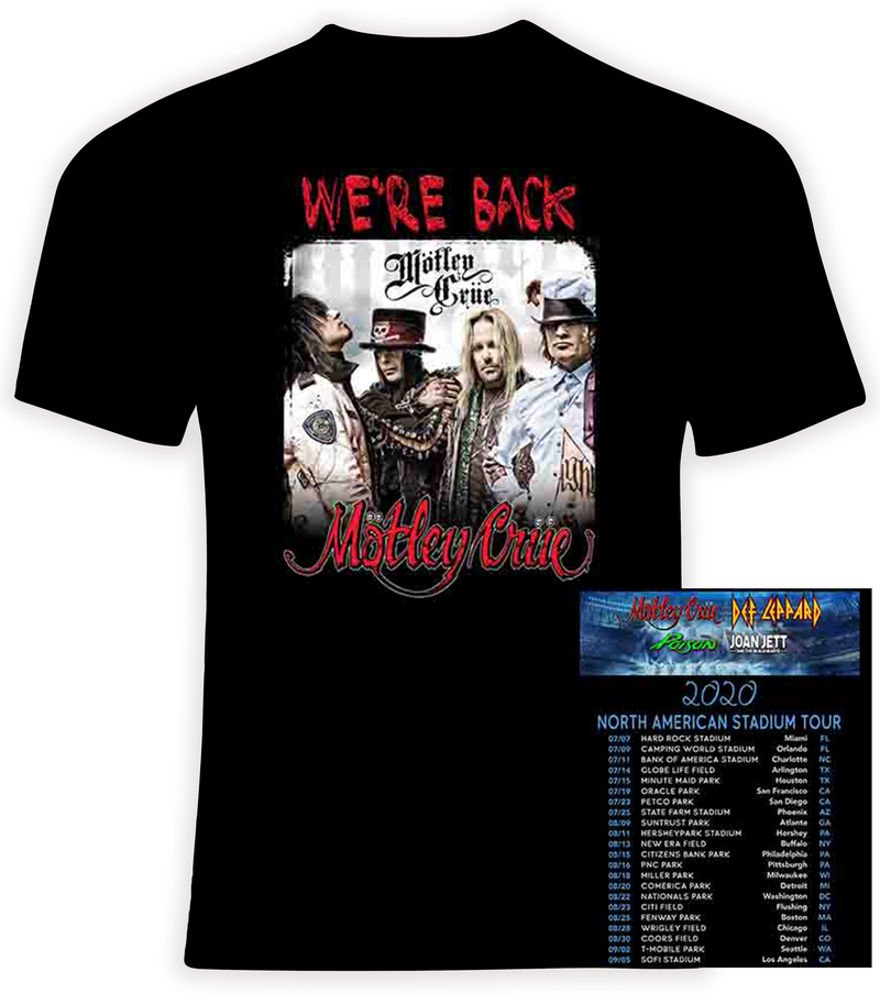 Motley Crue 2020 Stadium Tour with Def Leppard, Poison and Joan Jett T shirt