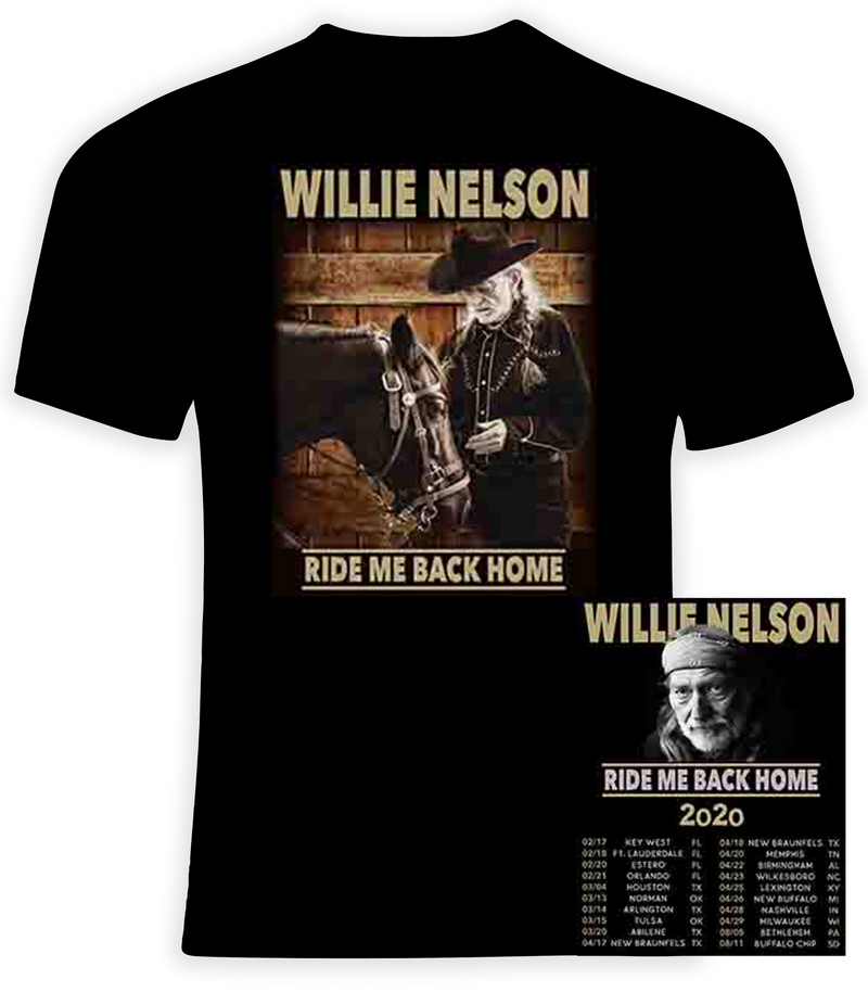 Willie Nelson 2020 Ride Me Back Home Concert Tour T Shirt