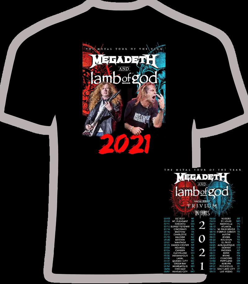 Megadeth and Lamb of God 2021 Concert Tour t shirt