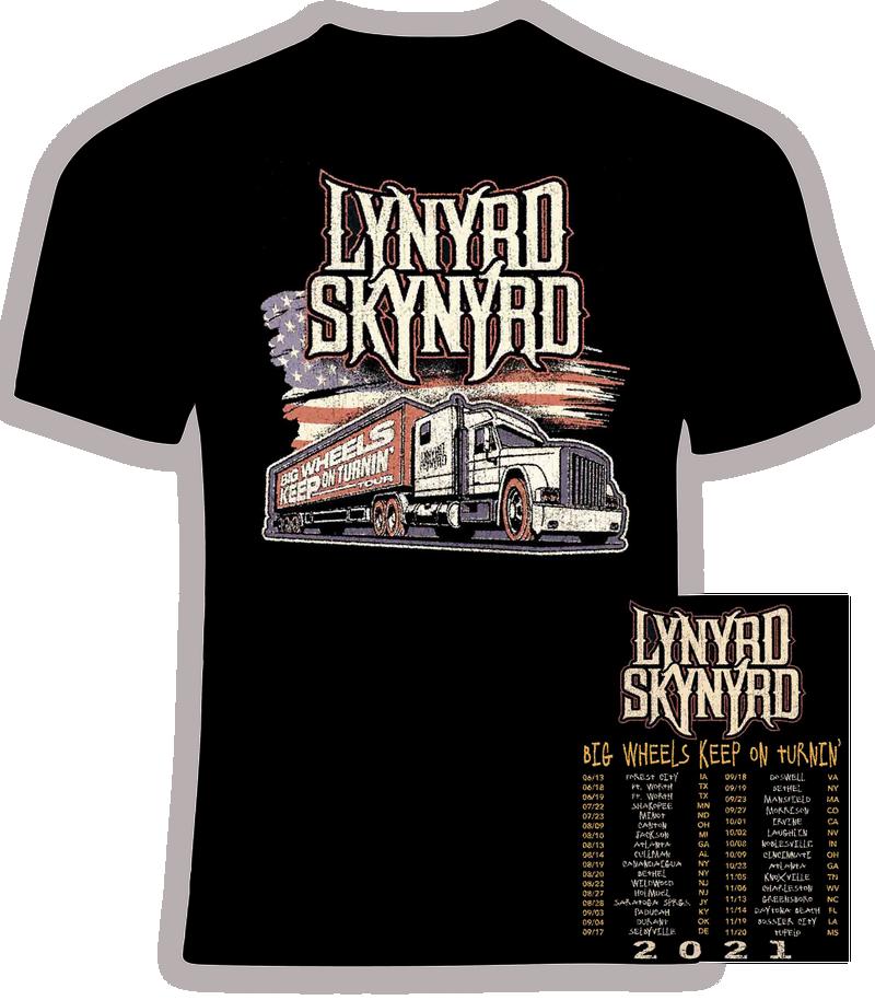 Lynyrd Skynyrd  2021 Big Wheels Keep on Turnin' Concert Tour T shirt
