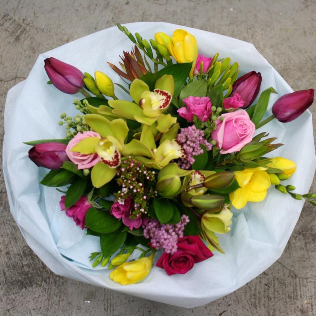 A garden bouquet of seasonal blooms.
