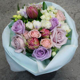 Soft Vintage style bouquet, seasonal blooms in pale pinks, whites and lavenders.