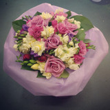 Seasonal Bouquet based on our best seller 'Lambton'. Pinks creams and purples.
