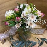 Cottage posy of vintage styled blooms in a beautiful vintage vase.
