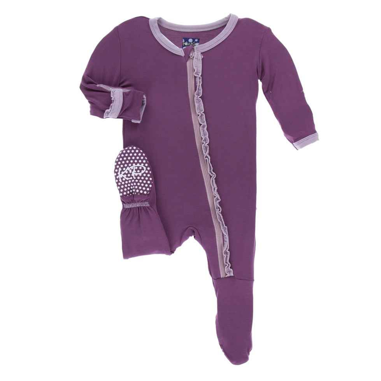 KicKee Pants Solid Muffin Ruffle Footie with Zipper