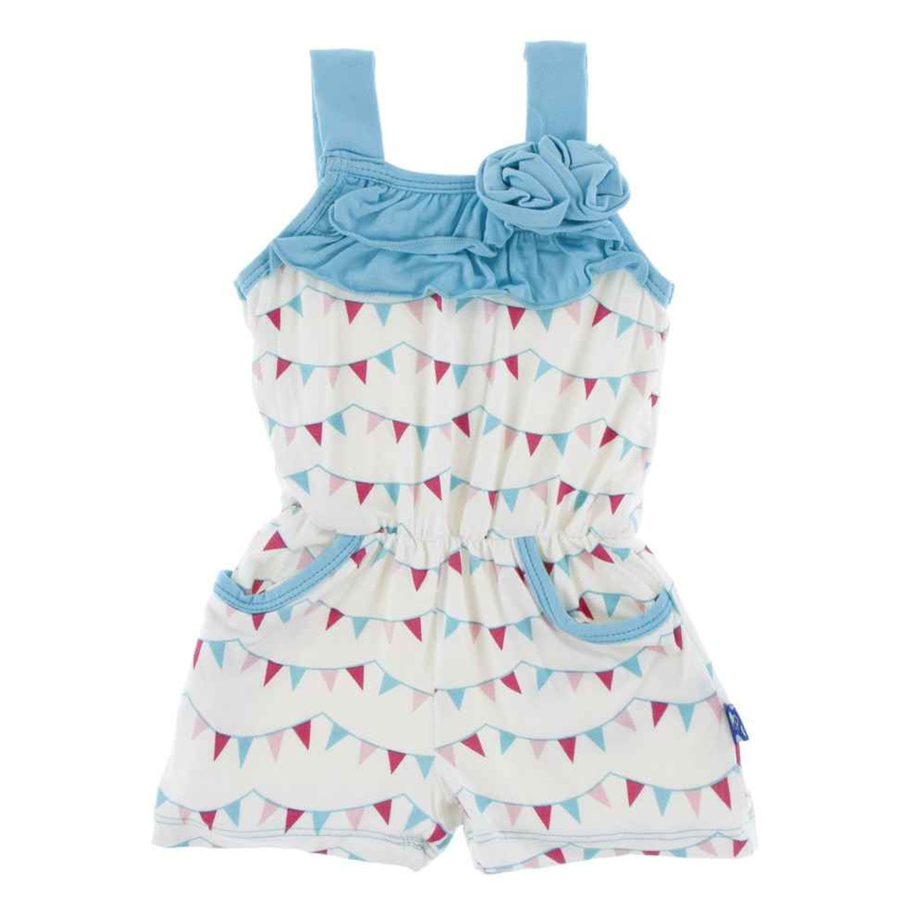 KicKee Pants Print Flower Romper with Pockets
