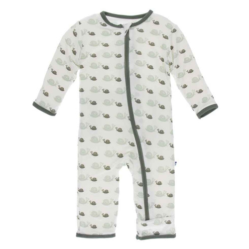 Natural Snails - 6-9 Months KicKee Pants Print Coverall with Zipper