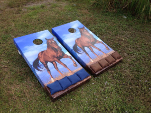 Cornhole Boards with horse graphics