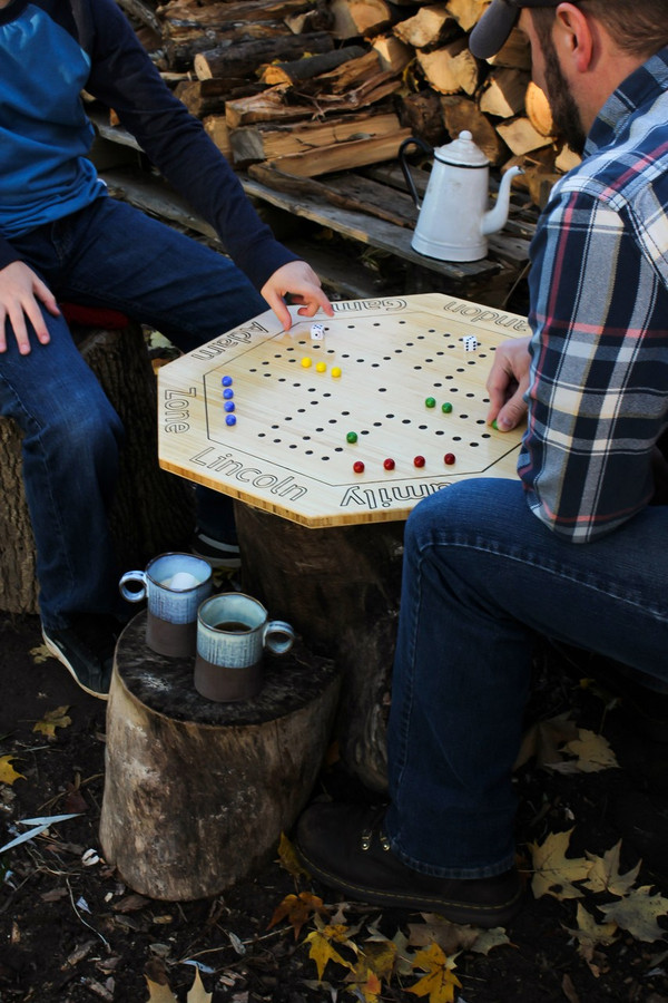 Family fun time playing Aggravation, personalized with your player names