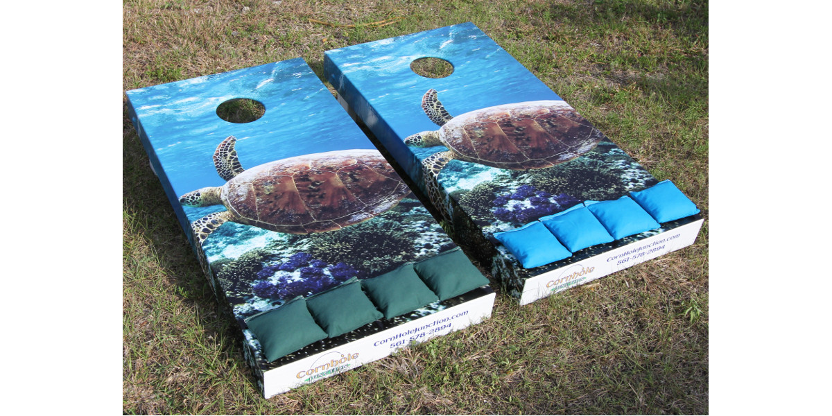 Cornhole Boards with side wrapped graphics of Loggerhead Turtle
