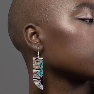 Batik textile earrings in pink, silver/black and copper/blue
