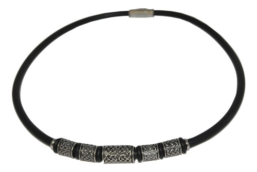 "Unisex - Young Men's Pewter & Rubber 16"" Necklace"