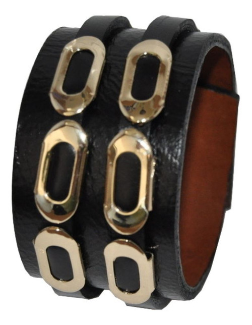 "Leather Wide Cuff Braclet with Gold Plated Chain design in ""Basic"" Black"