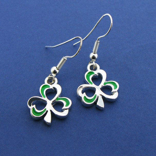 Shamrock Silver Plate Dangle earrings With Green Enamel Finish