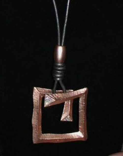 Rose Gold Plated Geometric Pendant With Crystals on Granite Leather Lanyard
